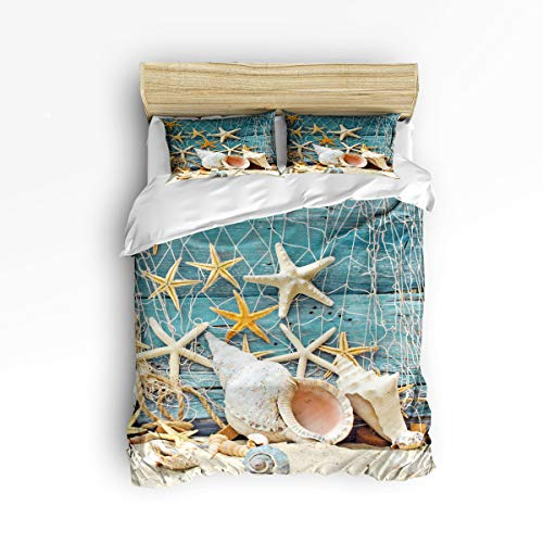 3 Piece Polyester Fabric Bedding Set with Zipper Closure Full Size, Starfish Conch Beach Fishing Net Comforter Cover Set Duvet Cover with 2 Pillow Shams for Girls/Boys/Kids/Children/Teen/Adults