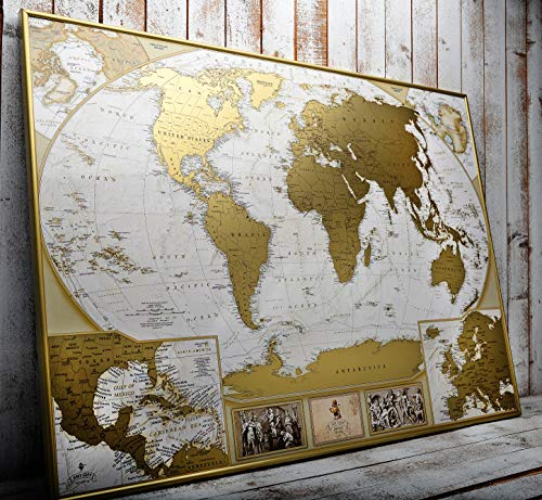 MyMap Antique Scratch Off map Large Gold World Map w/ EnLarge Europe and Caribbeans Map w USA States 35x25 inc Detailed Push Pin Travel Map Poster To Mark 10.000 Cities Anniversary Birthday Idea]()