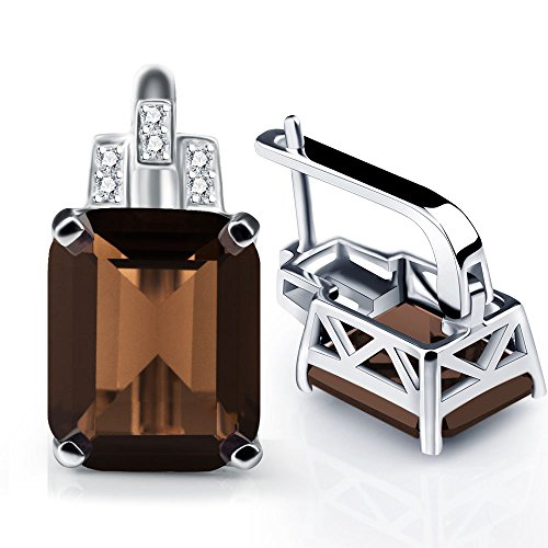 ANGG 8.2ct Natural Smoky Quartz Clip On Earrings 925 Sterling Silver Jewerly For Women (Jewelry Quartz Box Smoky Silver)