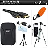 Starter Accessories Kit For Sony Cyber-Shot DSC-TX10 Waterproof Digital Camera Includes Deluxe Carrying Case + 50'' Tripod With Case + Mini HDMI Cable + USB 2.0 Card Reader + FLOAT STRAP + Mini TableTop Tripod + MicroFiber Cleaning Cloth