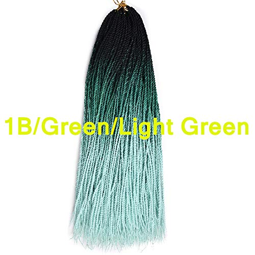 Three Tone Color 100% High Temperature Hand Twist Braids 3Packs Crochet Braids Comfort Ombre Color Shiny and Soft Senegalese Hair 24Inch 20Roots/Pcs (1B/Green/Light Green) ()