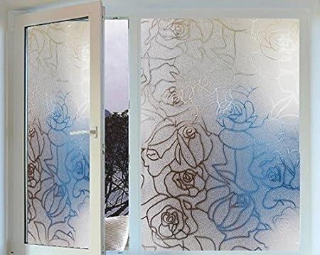 Desconocido Generic PVC 45 x 200 cm 3D Rose Patrón película para Puerta corredera de Cristal de la Ventana de Cristal para salón o Dormitorio Cuarto de baño Cuarto de baño Pegatinas: