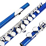 Glory Closed Hole C Flute With Case, Tuning Rod and Cloth,Joint Grease and Gloves Blue-More Colors available,Click to see more colors