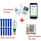Zinnor Glucose / Cholesterol Meter Monitor | 2 in1 Bluetooth 4.0 Meter Monitor with APP for IOS Android with 50pcs Glucose Test Strips + 10pcs Cholesterol Test Strips