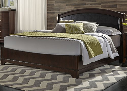 Liberty Furniture Avalon Bedroom King Leather Bed, Dark Truffle Finish ()