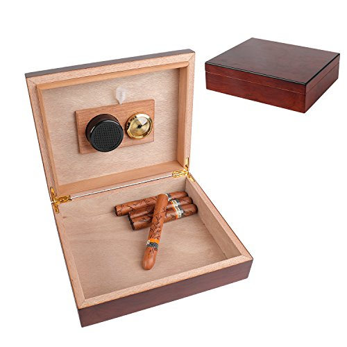 A Comely Cigar Humidor Mohogany and Spanish Cedar Wood Lined for 25 Cigars, high-end cigar box set with Hygrometer and Humidifier