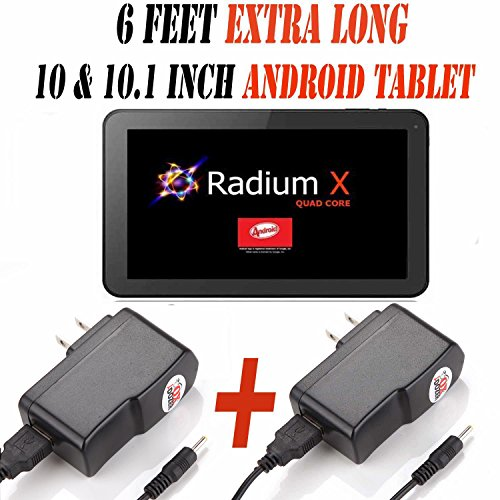 6 Feet Ac/dc Charger Adapter (6hh) for 10.1 Inch Android Tablet Pc Set of 2 (Wall & Wall) Fits (Pumpkin X Radium X 10.1