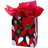 Hallmark Medium Valentine's Day Gift Bag with Tissue Paper (Red & Silver Heart)
