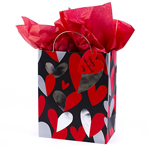 Hallmark Medium Valentine's Day Gift Bag with Tissue Paper (Red & Silver Heart) ()