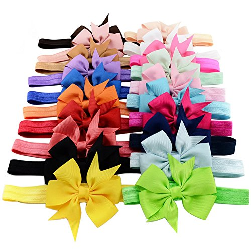 20pcs/lot 3 Inch Cute Kids Baby Girls headband Toddler Infant Chiffon Bowknot Headbands Solid Color Hair Bows Hair Band Accessories Christmas Gift by Cmidy