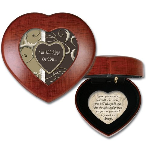 Thinking Of You Woodgrain Cottage Garden Traditional Petite Heart Music Box Plays Wind Beneath Wings (Shadow Box Urn)