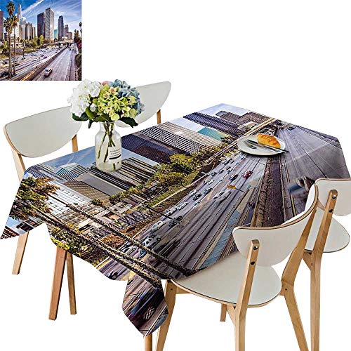 UHOO2018 Square/Rectangle Polyesters Tablecloth Downtown Cityscape of Los Angeles California USA Avenue Buildings Palms Blue Grey Green Wedding Party,54 -