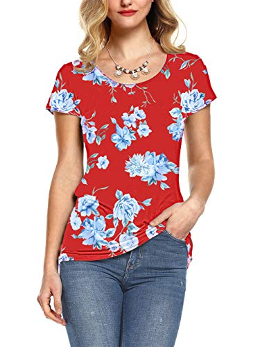 - Amoretu Women's Floral Tee Tops Casual Scoop Neck Short Sleeve Summer Shirts(Red,S)