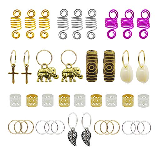 (120pcs Dredlock Beads Accessories, Grosun Hair Charms Pendants Hair Rings Braid Cuffs Braid Hair Accessories Braid for Hair)