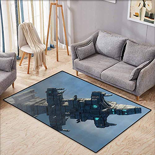 Inner Door Rug Outer Space Decor Photo of Huge Military Ship in The Air Solar Planetary Cosmos Vehicle Grey Blue with Anti-Slip Support W6'8 xL4'9 ()