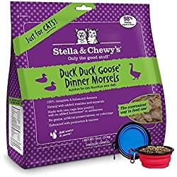 Stella & Chewy's Freeze Dried Cat Food,Snacks Super Meal Mixers 18-ounce Bag With Hot Spot Pets Food Bowl - Made in USA (Duck)