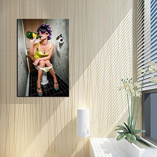 Fashion Toilet Sexy Woman Canvas Print Modern Bar Girl