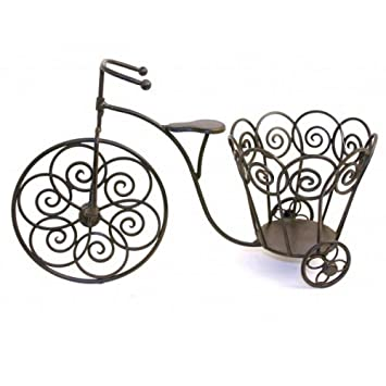 Small Metal Bronze Coloured Penny Farthing Bike Garden Planter Ornament
