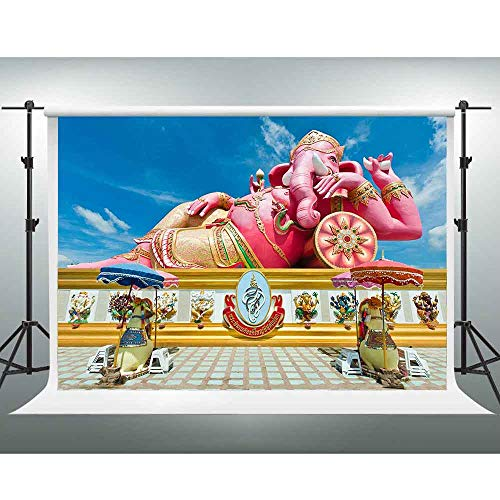 GESEN 10X7ft Indian Statue Backdrop Pink Lying Elephant Photography Background for Themed Party You Tube Background Photo Studio Shooting Props ()