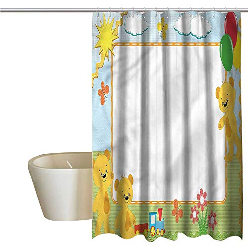 Denruny Shower Curtains with Blue Birds Train,Kids Toy Teddy Bears Flowers,W48 x L72,Shower Curtain for Kids Bear Blue Flower Shower