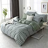 DOUH 3 Pieces King Duvet Cover Set, Jersey Knit Cotton Ultra Soft Striped Duvet Cover and Pillow Shams Comfy King Size Bedding Set Light Green for Girls and Boys