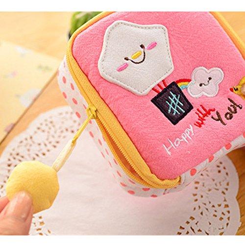 EQLEF® 2ST reizender Karikatur-Damenbinden Tasche Stickerei Tampon Aufbewahrungstasche Sanitary Towel Packet