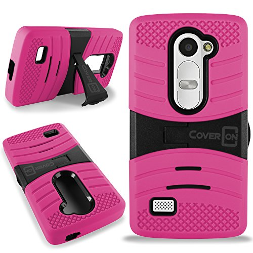 CoverON for LG Power Destiny Sunset Case - [Titan Armor Series] Hybrid Hard and Soft Shockproof Dual Layer Protective Phone Cover with Kickstand - Hot Pink / Black (Sunset Cover)