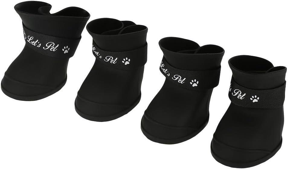 Fdit 4Pcs Lluvia Zapatos Perro Mascota de Silicona Impermeable Antideslizante Zapatos de Lluvia de Protección para Perros Pequeños Animales(L Negro)