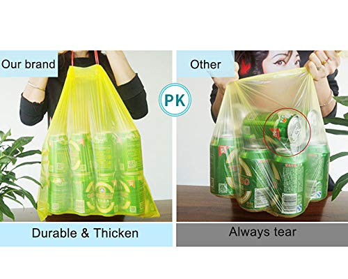 Trash Bags, Ultra Strong Thick Drawstring Garbage Bags Scent Free Odor Control - 4 Gallon - 5 Rolls- 75 Counts - for Kitchen Bathroom Office Home Waste Bin, Random Colors