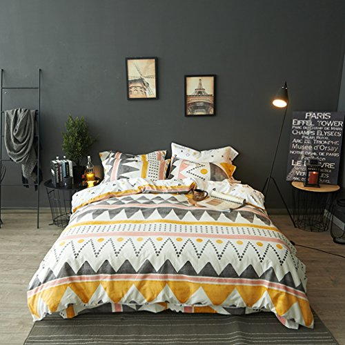 Modern Boho Tribal Bedding Aztec Stripe Print Cotton Duvet Quilt Cover Set Native American Denim Blue and White Bohemian Urban Hippie Geometric Pattern (Twin, Orange Multicolor)