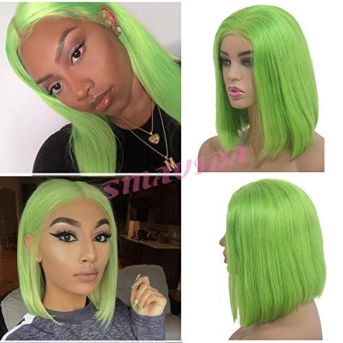 Lime-Green-13×4-Lace-Frontal-Bob-Short-Wig-Glueless-Brazilian-Virgin-Hair-Straight-Silky-Bob-Wigs-180-Density-12-Colored-Middle-Part-with-Baby-Hair-Short-Cut-Bob-for-Black-Women