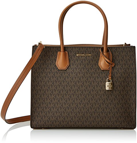 Michael Kors Women's Large Mercer Signature Twill Convertible Tote Leather Shoulder Bag (Brown) by Michael Kors