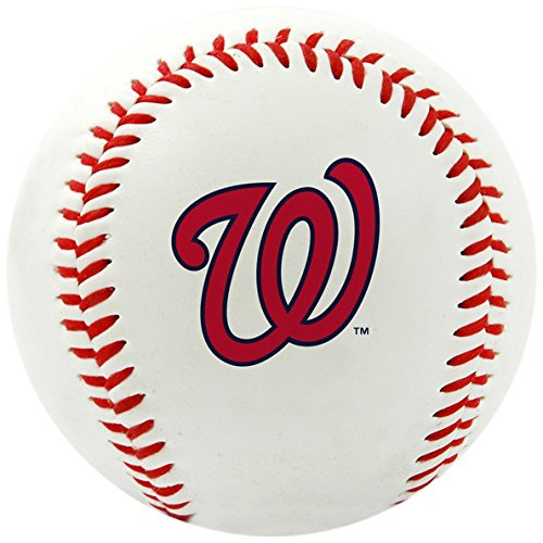 (Rawlings MLB Nationals Team Logo Baseball, Official, White)