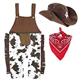 A&J DESIGN Baby Boys' Western Cowboy Romper Sets with Scarf and Hat