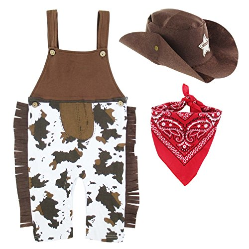 A&J Design Halloween Baby Boys' Western Cowboy Romper Sets with Scarf and Hat (12-18 Months, Brown) -