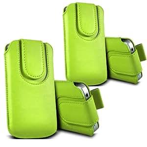 ONX3 - TWIN PACK - Huawei Ascend Y511 botón magnético PU Tire de la lengüeta protectora de piel cubierta de bolsa de la caja (verde)