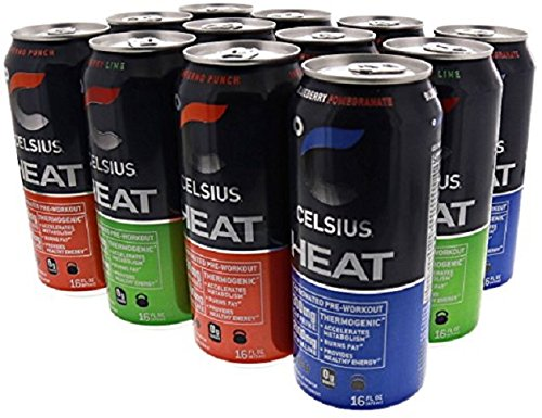 Celsius Heat Carbonated Thermogenic Pre-Workout for an Accelerated Metabolism and Healthy Energy 12/16oz Cans (Variety Pack)