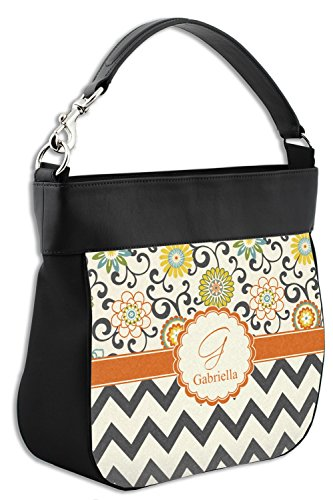 Purse amp; Genuine Personalized w Back Swirls Front Leather Hobo Floral Chevron Trim amp; a6wIwSqT