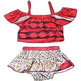 KABETY Baby Girls Princess Moana Swimsuit Two Piece Off Shoulder Bikini Set (Red 0221, 100/2-3Y)