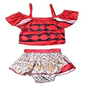 KABETY Baby Girls Princess Moana Swimsuit Two Piece Off Shoulder Bikini Set (Red 0221, 100/2-3Y)