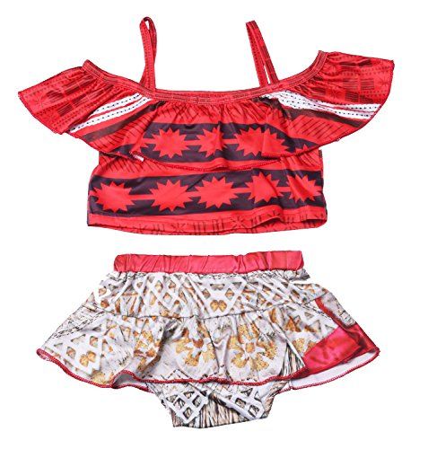 Kabety Baby Girls Princess Moana Swimsuit Two Piece Off Shoulder Bikini Set  Red 0221  130 5 6Y