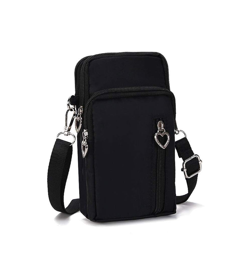 Crossbody Bags For Women Men Wallet Shoulder Bag Cellphone Holder Pouch With Arm Band Adjustable Strap Water Resistant Nylon Oxford 4 Zipper Pockets For Outdoor Sport Running Walking Exercise Gym