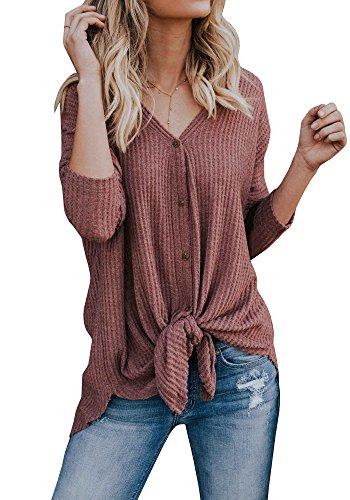 Remikstyt Henley Shirts For Women Lightweight Thermal Casual Asymmetrical Tops With (Lightweight Thermal Knit Henley)
