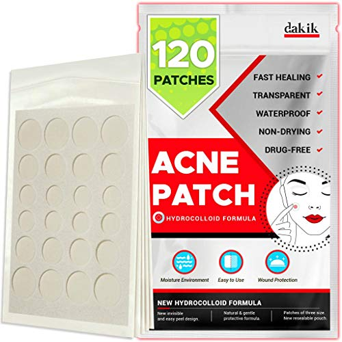 DAKIKK Acne Pimple Healing Patch - Absorbing Cover, Invisible, Blemish Spot, Hydrocolloid, Skin Treatment, Facial Stickers, Three Sizes, Blends in with skin (120 Patches)