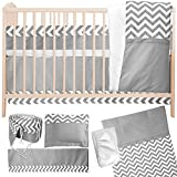 7 Piece Crib Nursery Bedding Set with Bumper by Simon's Baby House – 100% Cotton – Gray and White Chevron Zigzag Design for Boys & Girls – 52