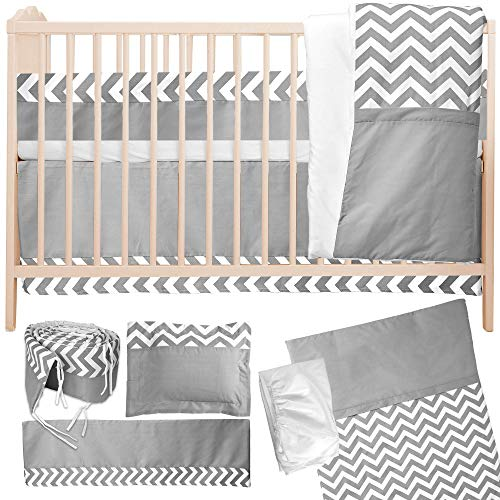 Bedding Set with Bumper by Simon's Baby House – 100% Cotton – Gray and White Chevron Zigzag Design for Boys & Girls – 52