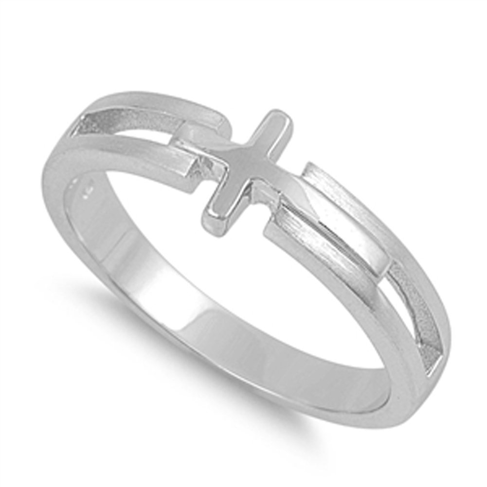 Sterling Silver Women's Sideways Cross Love Ring Polished Band 7mm Size 7