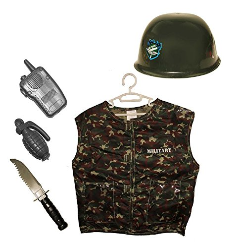 [Dazzling Toys Kids Pretend Play Army/Soldier Costume Set with Hat and Accessories] (Child Army Soldier Costumes)