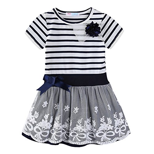 LittleSpring Little Girls Dress Striped Flower Summer 5 Navy Blue