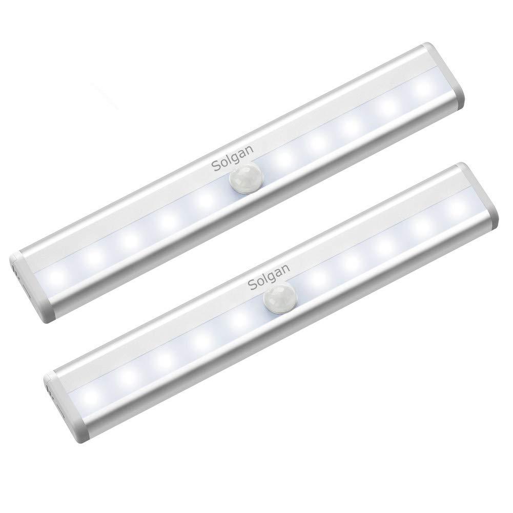 Solgan Motion Sensor Closet Lights, 10 LED Bulbs Battery Operated, Wireless Motion Sensor Nightlight Portable Security Closet Light for Closet Cabinet Hallway Stairway (2 Pack)